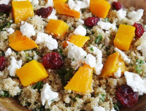 salade quinoa butternut rôti au miel chèvre et cranberries