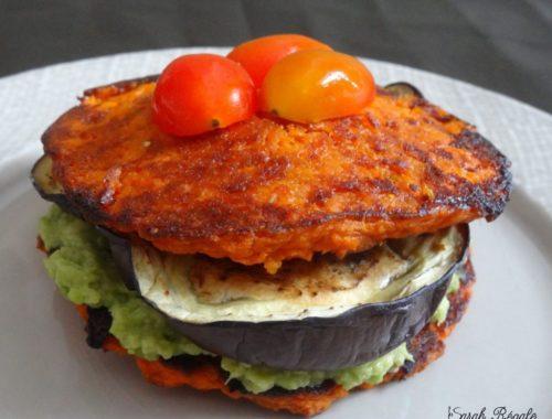 Birger végétarien patate douce aubergine et avocat